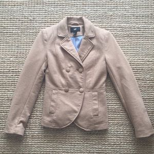 H&M Tan Double Breasted Blazer with Blue Lining